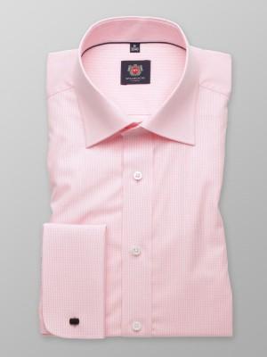 Różowa taliowana koszula w kratkę na spinki