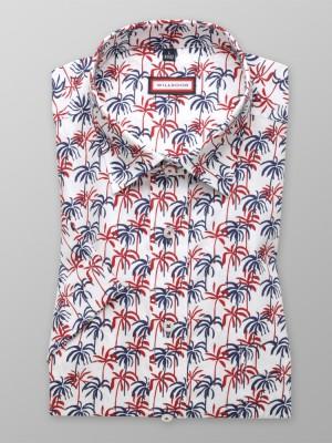 Biała klasyczna koszula w palmy