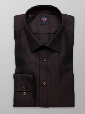 Ciemnobrązowa taliowana koszula w jodełkę
