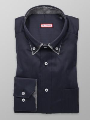Granatowa klasyczna koszula z kontrastami