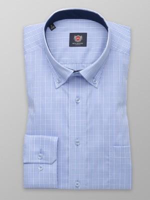 Błękitna klasyczna koszula w kratę
