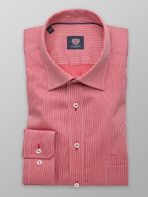 Czerwona klasyczna koszula w prążki