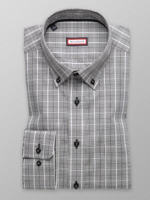 Taliowana koszula w drobną pepitkę i kratę