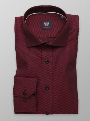 Bordowa taliowana koszula w drobne wzory