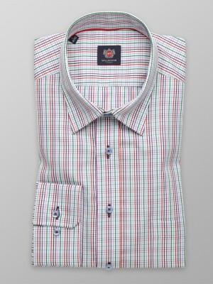 Biała taliowana koszula w kolorową kratkę