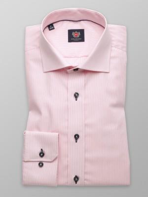 Różowa taliowana koszula w prążek