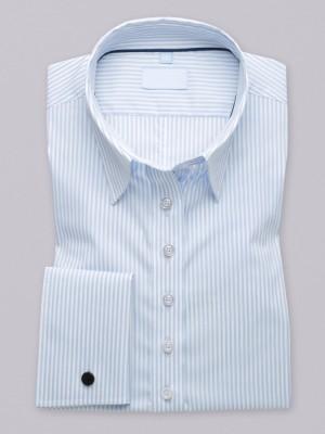 Bluzka w błękitno-białe paski na spinki