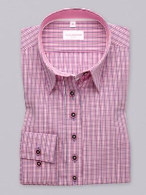 Różowa bluzka w białą i błękitną kratkę