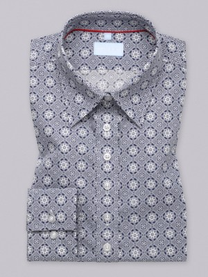Granatowa bluzka w geometryczne wzory