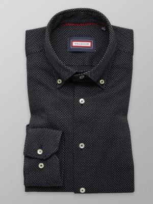 Klasyczna czarna koszula w kropki