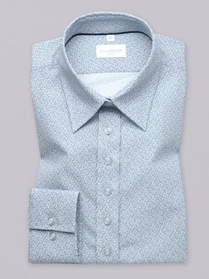 Błękitna bluzka w drobny mikrowzór