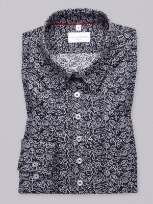Czarna bluzka w białe kwieciste wzory