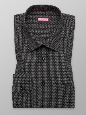Czarna klasyczna koszula w kropki