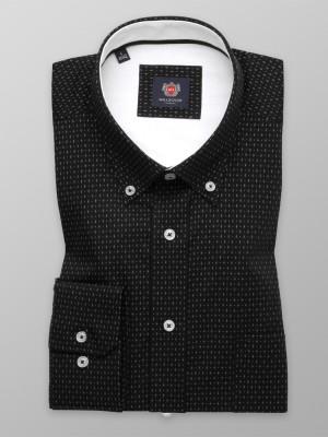 Klasyczna czarna koszula w delikatny wzór