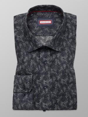 Granatowa taliowana koszula w liście
