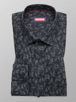 Klasyczna granatowa koszula w liście