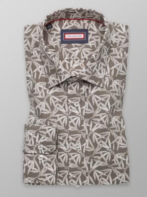 Brązowa taliowana koszula w liście