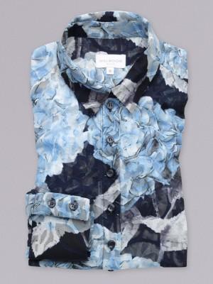 Bluzka oversize w niebieskie roślinne wzory