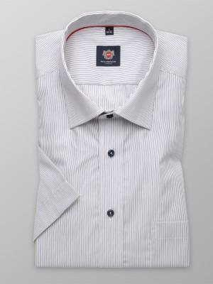 Biała taliowana koszula w szare prążki