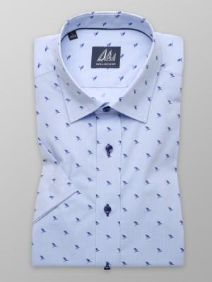 Błękitna taliowana koszula w żaglówki