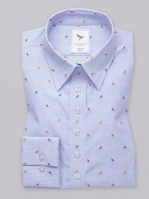 Wzorzysta bluzka w błękitno-białe paski