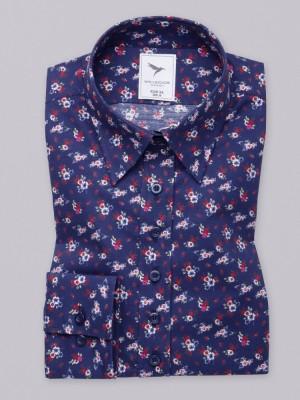 Granatowa bluzka w kolorowe kwiatki