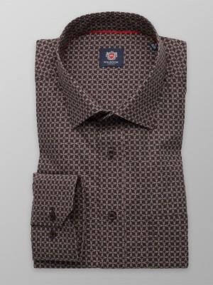 Klasyczna brązowa koszula w kracisty wzór