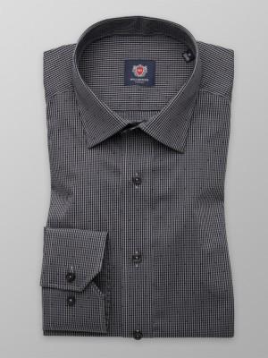 Szaro-czarna taliowana koszula w kratkę