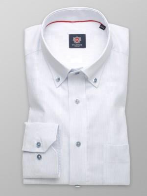 Biała klasyczna koszula w błękitny prążek