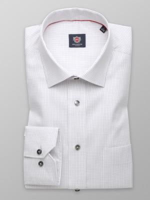 Biała klasyczna koszula w grafitową kratkę