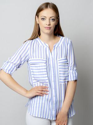 Biała bluzka o luźnym kroju w błękitne paski