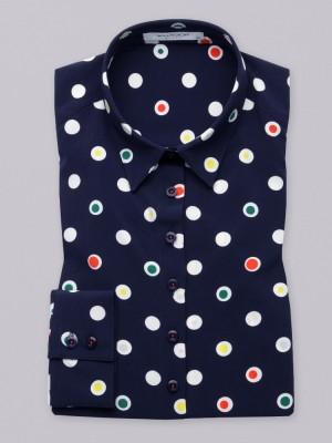 Granatowa bluzka oversize w kolorowe grochy