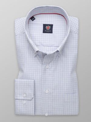 Biała klasyczna koszula w drobną granatową kratkę