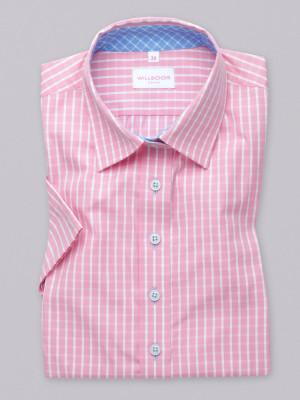 Różowa bluzka w białą kratkę