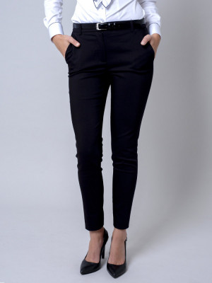 Czarne klasyczne spodnie garniturowe typu long size
