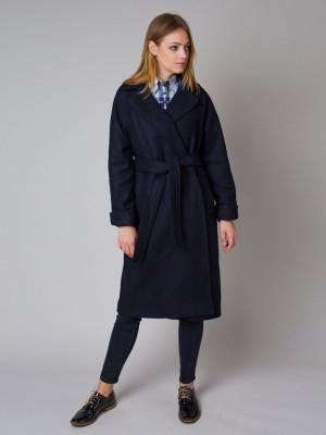 Granatowy płaszcz damski