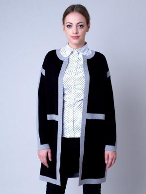 Długi czarny sweter w szare pasy