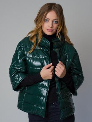 Krótka zielona kurtka pikowana