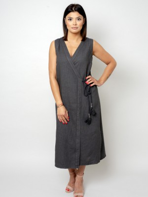 Długa antracytowa sukienka lniana