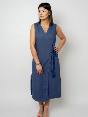 Długa granatowa sukienka lniana