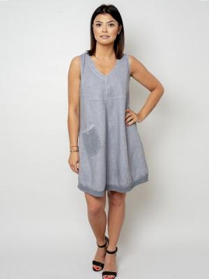 Krótka szara sukienka lniana