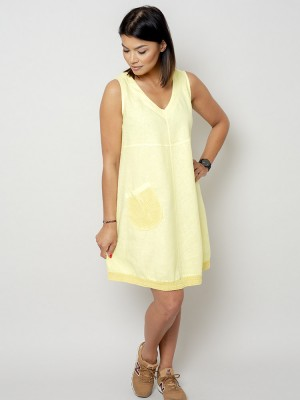 Krótka cytrynowa sukienka lniana