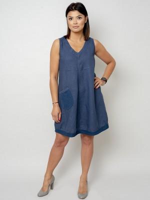 Krótka granatowa sukienka lniana