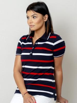 Granatowa koszulka polo w białe i czerwone pasy