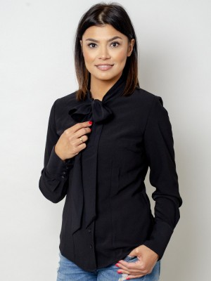 Czarna bluzka damska z kokardą
