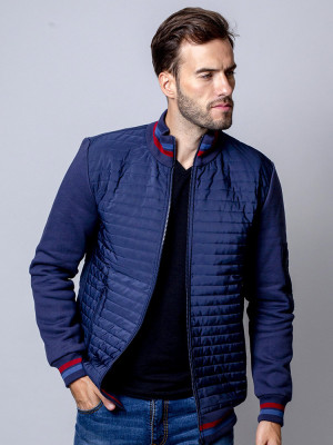 Granatowa kurtka pikowana