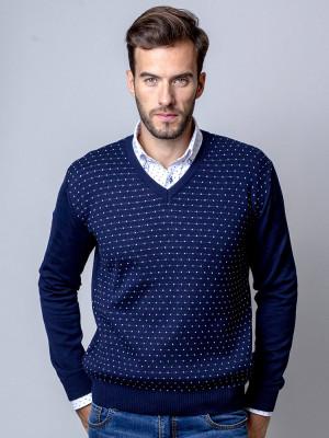 Granatowy sweter w kropki
