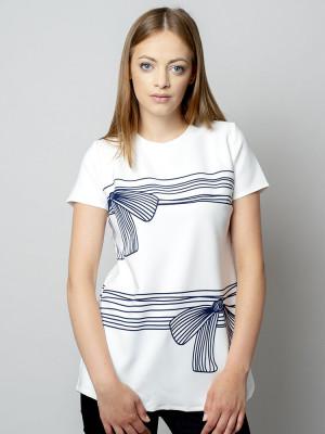 Biała bluzka oversize w paski z kokardą
