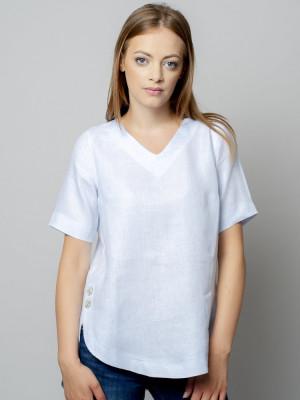 Jasnobłękitna bluzka lniana oversize z krótkim rękawem