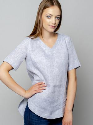 Szara bluzka lniana oversize z krótkim rękawem